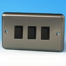 Varilight 3 Gang 1 or 2 Way 10A Rocker Light Switch (Twin Plate) Brushed Matt Chrome XS93B